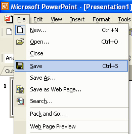 Powerpoint tutorial to save your powerpoint file for the first time begin by selecting save from the file menu toneelgroepblik Choice Image